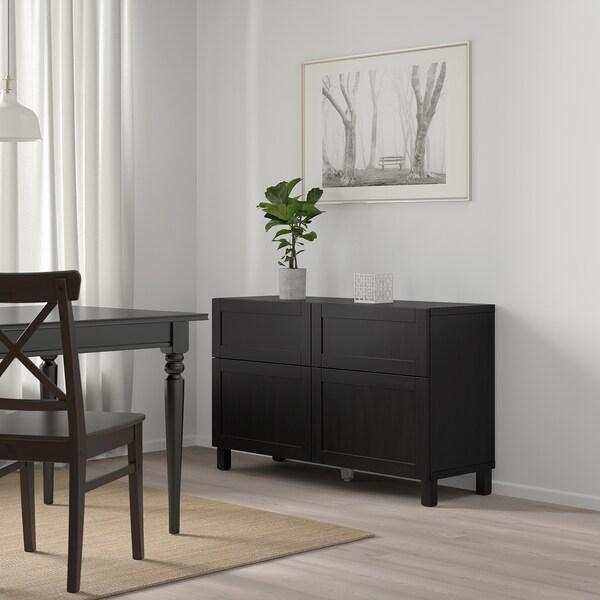 BESTÅ تشكيلة تخزين مع أبواب/ أدراج, أسود-بني/Hanviken أسود-بني, 120x42x65 سم