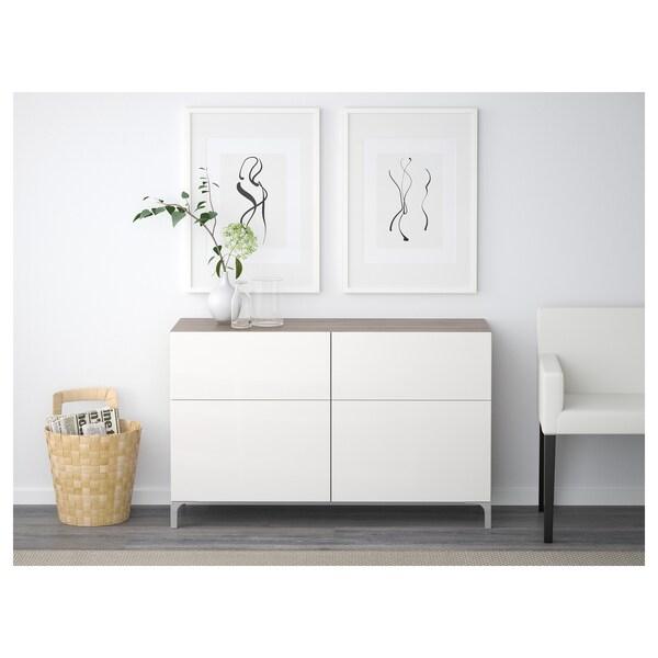 BESTÅ تشكيلة تخزين مع أبواب/ أدراج, مظهر الجوز مصبوغ رمادي/Selsviken أبيض/لامع, 120x40x74 سم