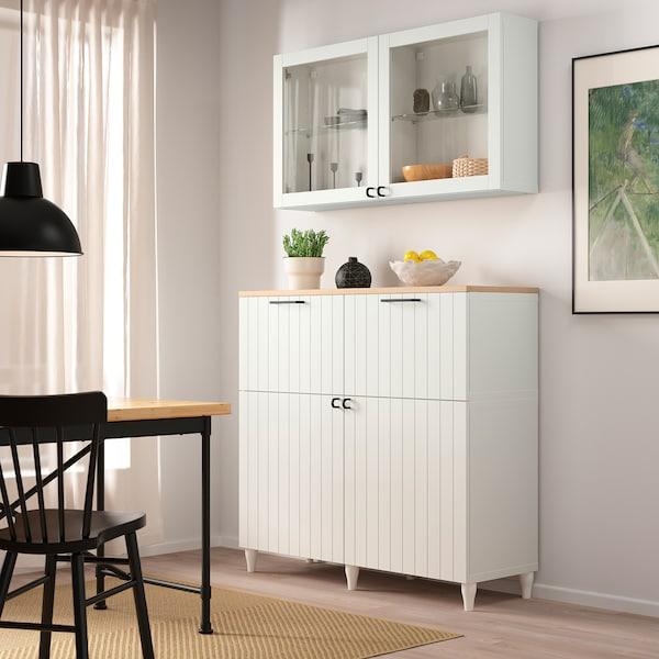 BESTÅ Storage combination w doors/drawers, white/Sutterviken/Kabbarp white clear glass, 120x42x240 cm