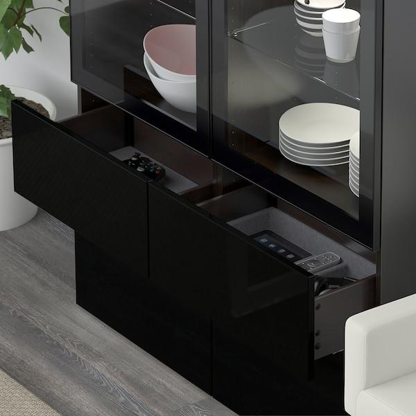 BESTÅ Storage combination w glass doors, black-brown/Selsviken high-gloss/black clear glass, 120x40x192 cm