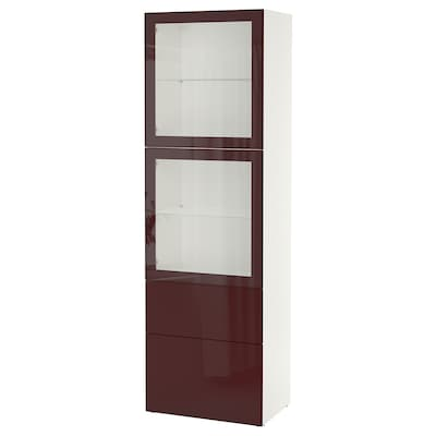 BESTÅ Storage combination w glass doors, white Selsviken/dark red-brown clear glass, 60x42x193 cm