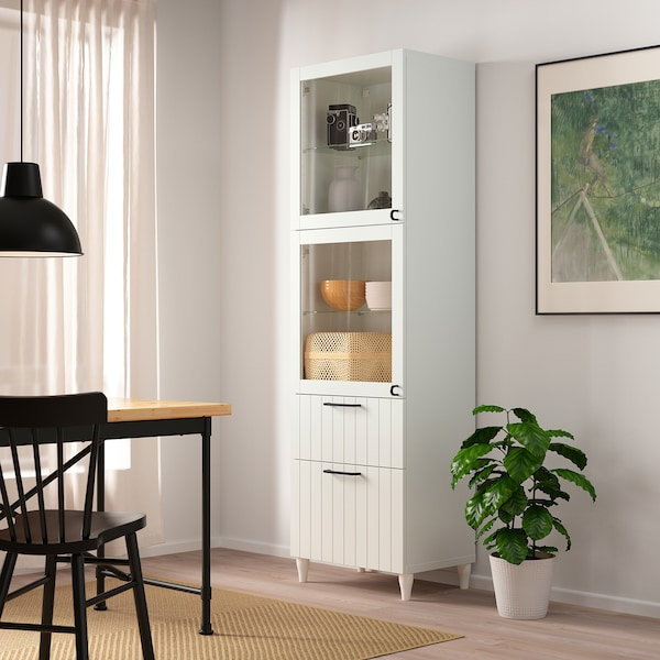 BESTÅ Storage combination w glass doors, white/Sutterviken/Kabbarp white clear glass, 60x42x202 cm