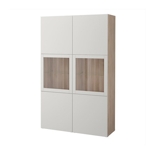 Ikea Besta Vitrine bestå storage combination w glass doors grey stained walnut effect