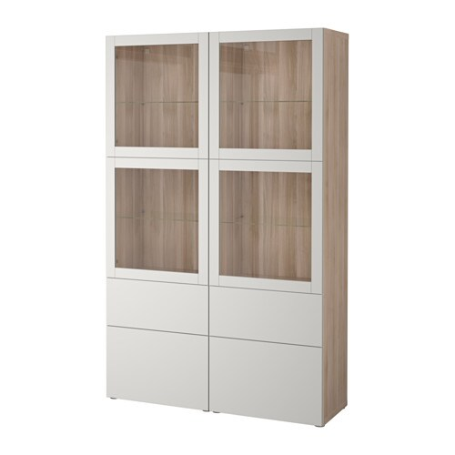 Best 197 Storage Combination W Glass Doors Grey Stained