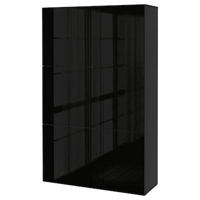 BESTÅ تشكيلة تخزين مع أبواب, أسود-بني/Selsviken أسود/لامع, 120x40x192 سم