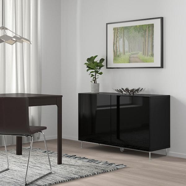 BESTÅ Storage combination with doors, black-brown/Selsviken/Stallarp high-gloss/black, 120x40x74 cm