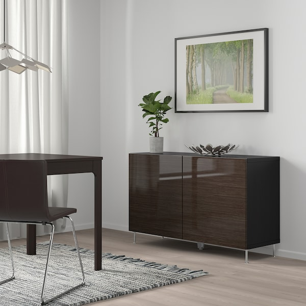 BESTÅ Storage combination with doors, black-brown/Selsviken/Stallarp high-gloss/brown, 120x40x74 cm