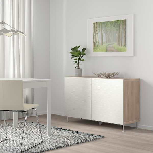 BESTÅ Storage combination with doors, grey stained walnut effect/Laxviken/Stallarp white, 120x40x74 cm