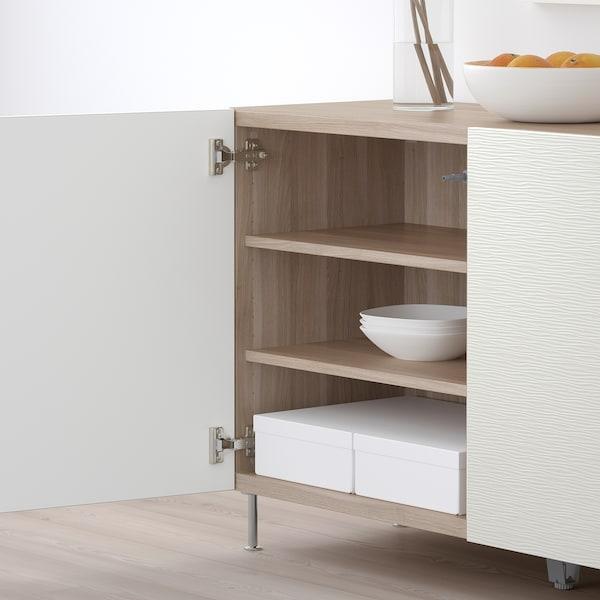 BESTÅ تشكيلة تخزين مع أبواب, مظهر الجوز مصبوغ رمادي/Laxviken/Stallarp أبيض, 120x40x74 سم
