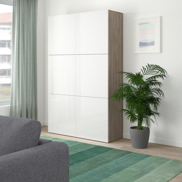 BESTÅ تشكيلة تخزين مع أبواب, مظهر الجوز مصبوغ رمادي/Selsviken أبيض/لامع, 120x40x192 سم