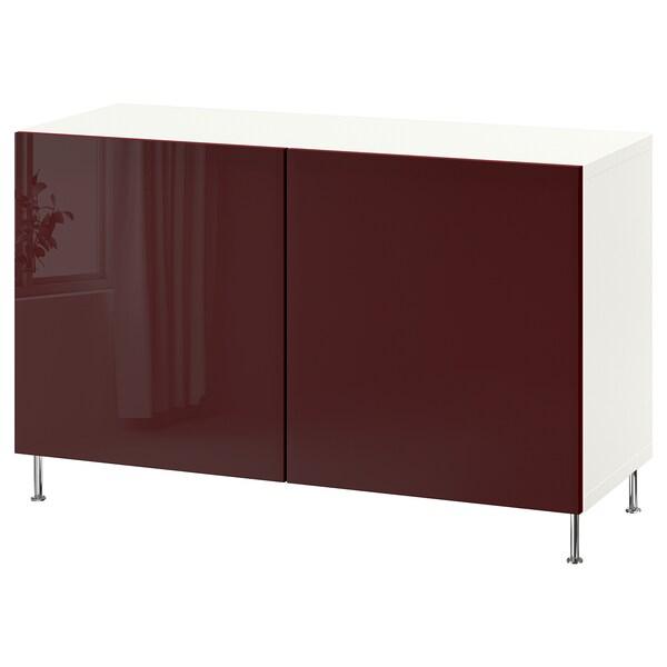 BESTÅ Storage combination with doors, white Selsviken/Stallarp/high-gloss dark red-brown, 120x42x74 cm