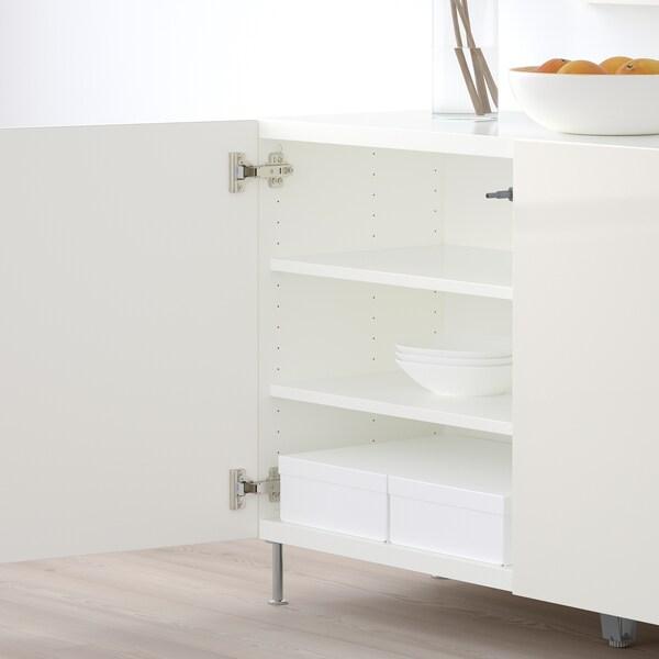 BESTÅ Storage combination with doors, white/Selsviken/Stallarp high-gloss/white, 120x40x74 cm
