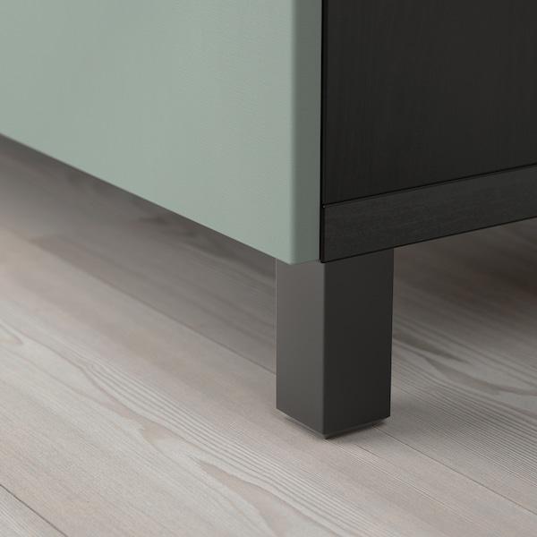 BESTÅ تشكيلة تخزين مع أدراج, أسود-بني/Notviken/Stubbarp رمادي-أخضر, 180x42x74 سم