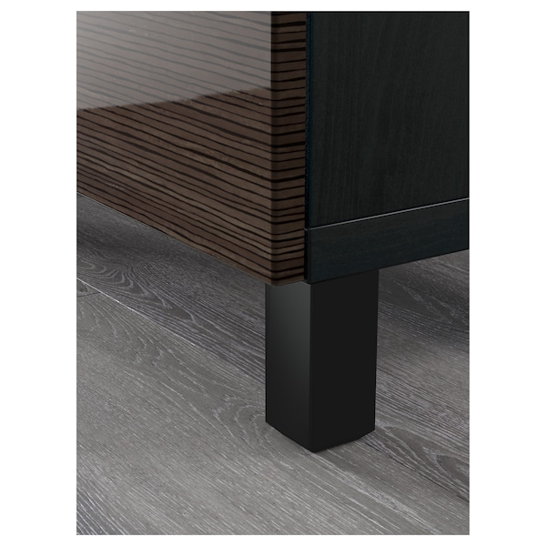 BESTÅ Storage combination with drawers, black-brown/Selsviken high-gloss/brown, 180x40x74 cm