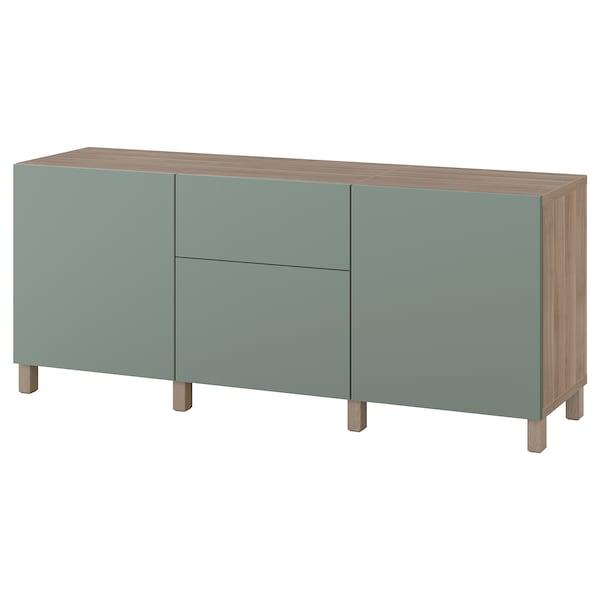 BESTÅ Storage combination with drawers, grey stained walnut effect/Notviken/Stubbarp grey-green, 180x42x74 cm