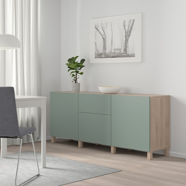BESTÅ Storage combination with drawers, grey stained walnut effect/Notviken/Stubbarp grey-green, 180x42x74 cm