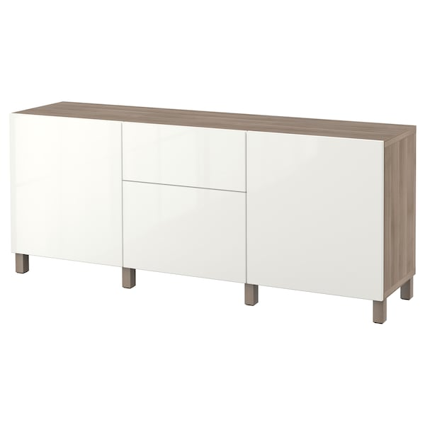 BESTÅ Storage combination with drawers, grey stained walnut effect/Selsviken high-gloss/white, 180x40x74 cm