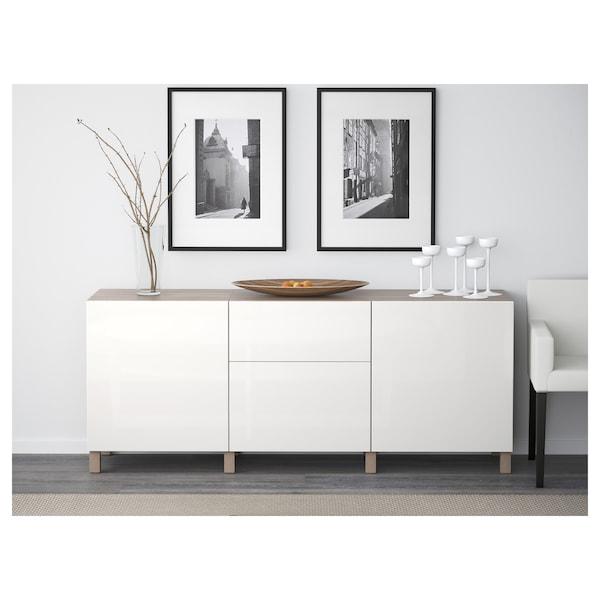 BESTÅ Storage combination with drawers, grey stained walnut effect/Selsviken/Stubbarp high-gloss/white, 180x42x74 cm