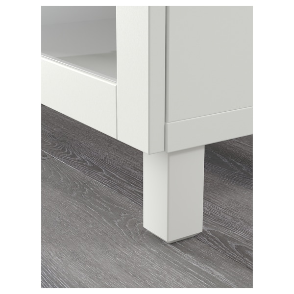 BESTÅ Storage combination with drawers, white Lappviken/Sindvik/Stubbarp white clear glass, 180x42x74 cm