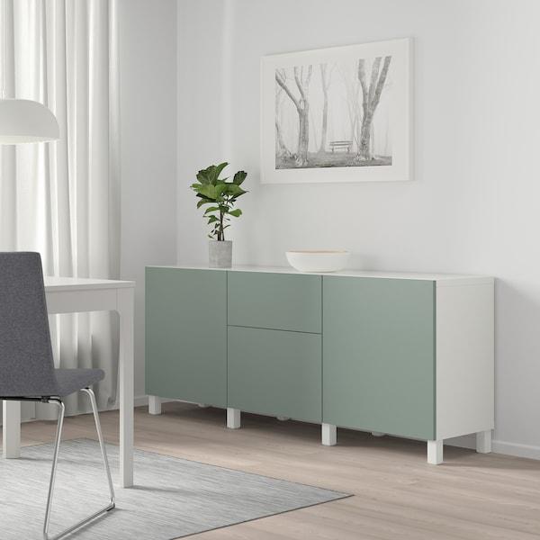 BESTÅ تشكيلة تخزين مع أدراج, أبيض/Notviken/Stubbarp رمادي-أخضر, 180x42x74 سم
