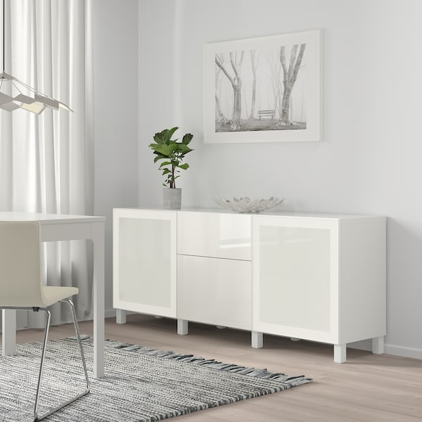 BESTÅ Storage combination with drawers, white/Selsviken/Stubbarp high-gloss/white frosted glass, 180x42x74 cm
