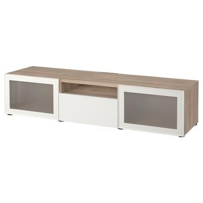 BESTÅ TV bench, grey stained walnut effect/Selsviken high-gloss/white frosted glass, 180x42x39 cm