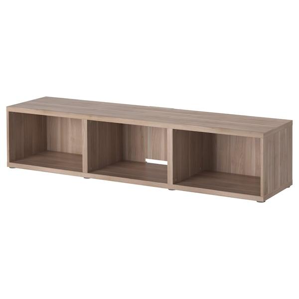 BESTÅ TV bench, grey stained walnut effect, 180x40x38 cm
