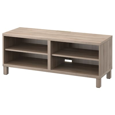 BESTÅ TV bench, grey stained walnut effect, 120x40x48 cm