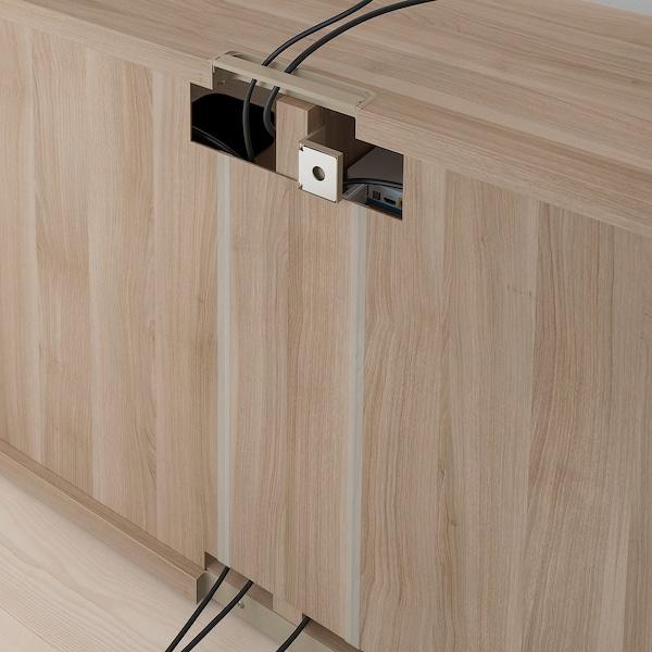 BESTÅ TV bench, grey stained walnut effect, 120x40x64 cm
