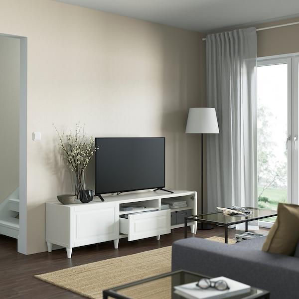 BESTÅ TV bench, white/Smeviken/Kabbarp white, 180x42x48 cm
