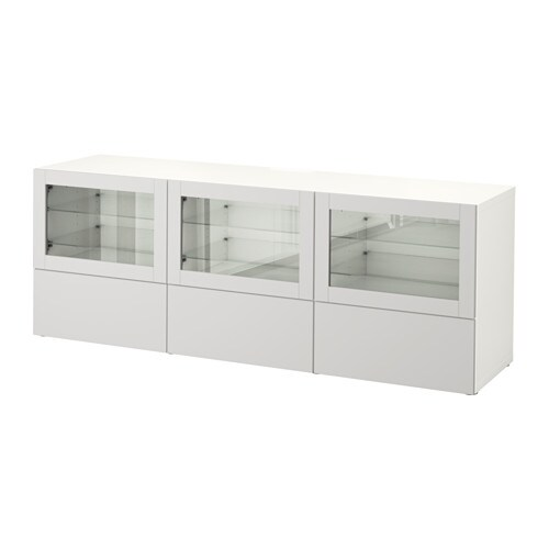 Bestå Tv Bench With Doors And Drawers White Lappviken Light Grey Clear Glass