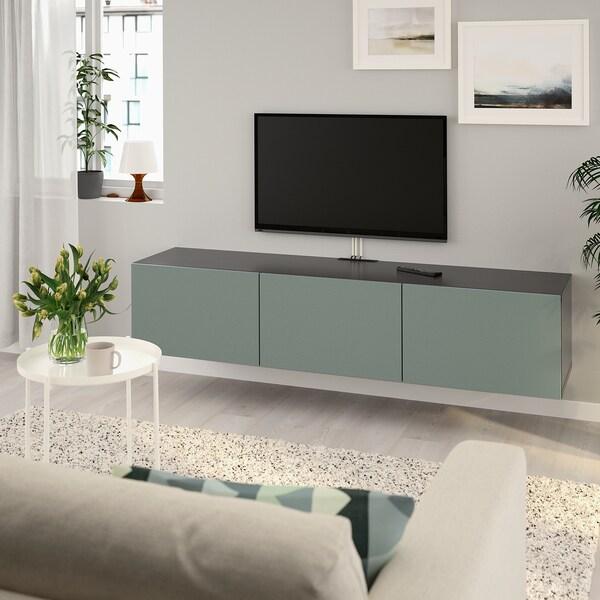 BESTÅ TV bench with doors, black-brown/Notviken grey-green, 180x42x38 cm