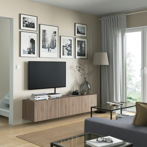 BESTÅ TV bench with doors, grey stained walnut effect/Lappviken grey stained walnut effect, 180x42x38 cm