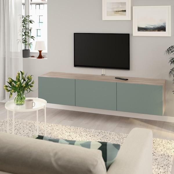 BESTÅ TV bench with doors, grey stained walnut effect/Notviken grey-green, 180x42x38 cm