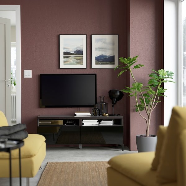 BESTÅ منصة تلفزيون مع أدراج, أسود-بني/Selsviken أسود/لامع, 120x42x48 سم