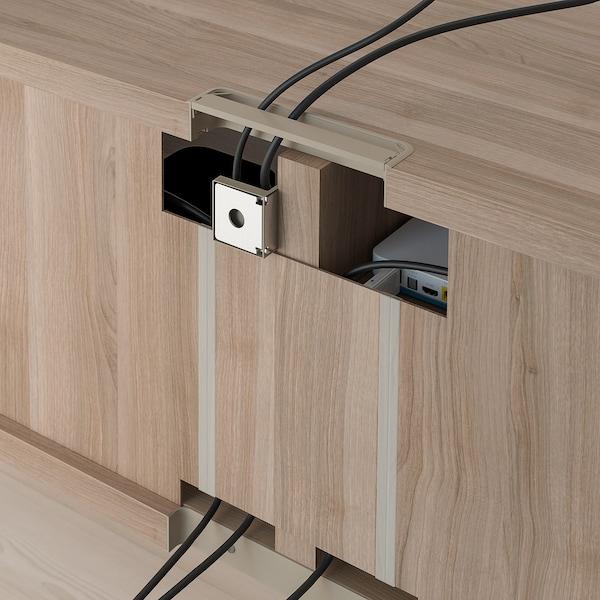 BESTÅ منصة تلفزيون مع أدراج, مظهر الجوز مصبوغ رمادي/Selsviken أبيض/لامع, 120x42x48 سم
