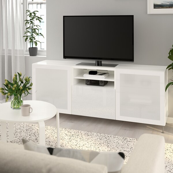 BESTÅ TV bench with drawers, white/Selsviken/Stallarp high-gloss/white frosted glass, 180x42x74 cm