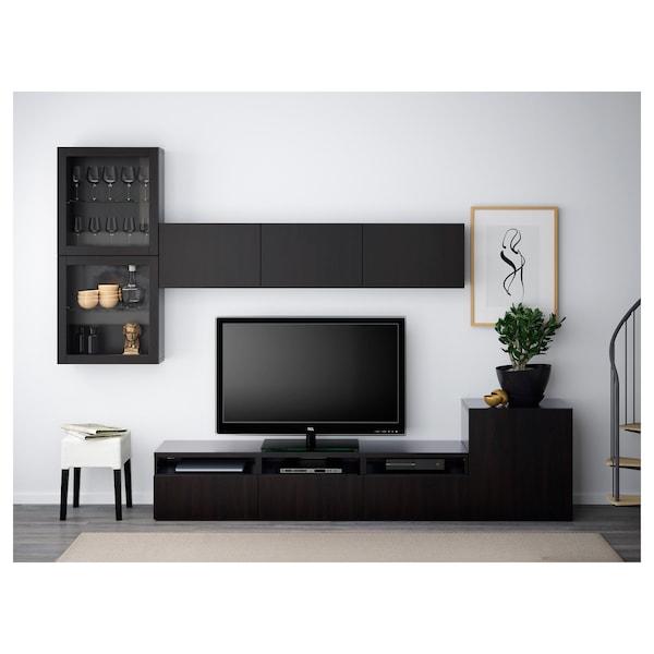 BESTÅ تشكيلة تخزين تلفزيون/أبواب زجاجية, أسود-بني/Lappviken أسود-بني زجاج شفاف, 300x42x211 سم
