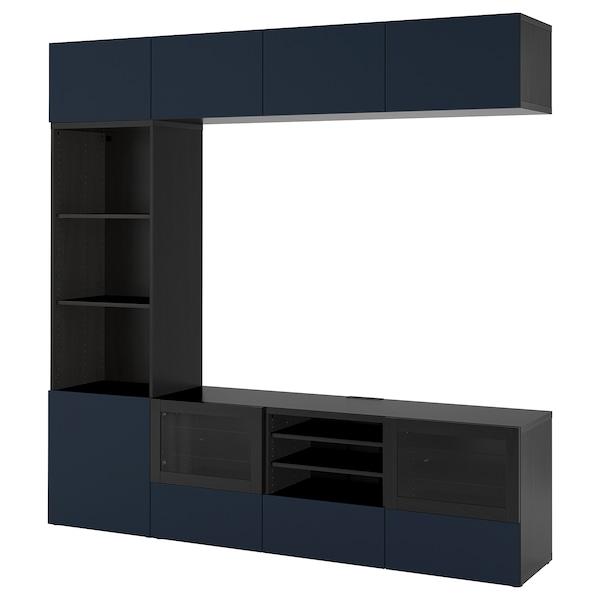 BESTÅ TV storage combination/glass doors, black-brown/Notviken blue clear glass, 240x42x230 cm