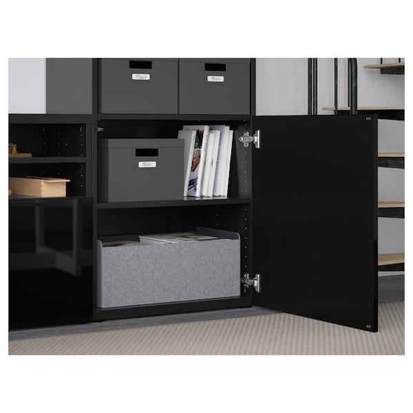 BESTÅ تشكيلة تخزين تلفزيون/أبواب زجاجية, أسود-بني/Selsviken لامع/زجاج دخاني أسود, 300x40x230 سم