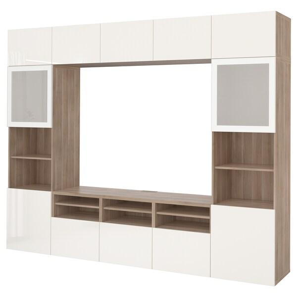 BESTÅ تشكيلة تخزين تلفزيون/أبواب زجاجية, مظهر الجوز مصبوغ رمادي/Selsviken لامع/زجاج ضبابي أبيض, 300x40x230 سم