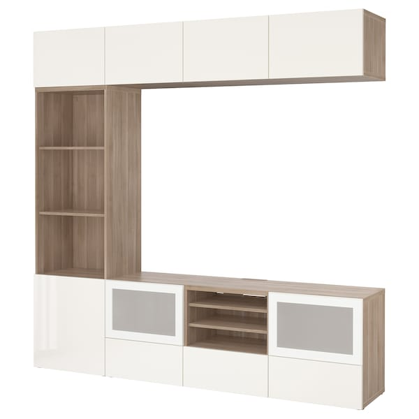 BESTÅ TV storage combination/glass doors, grey stained walnut effect/Selsviken high-gloss/white frosted glass, 240x40x230 cm