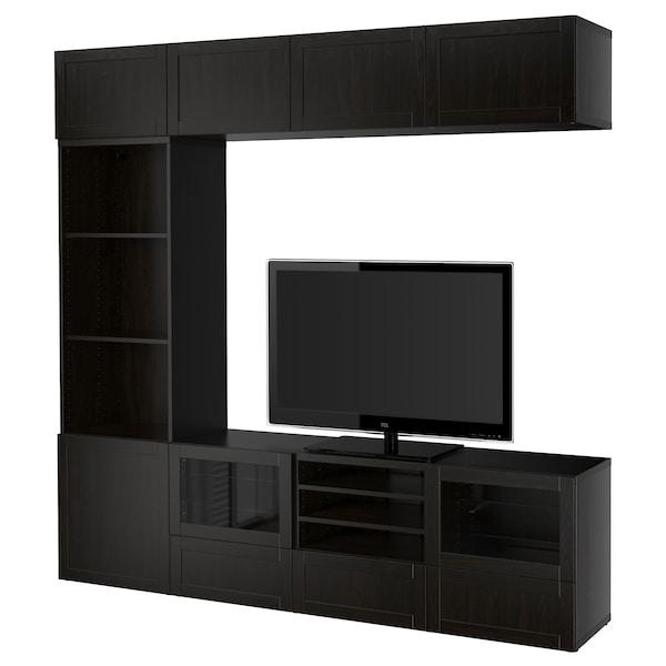 BESTÅ TV storage combination/glass doors, Hanviken/Sindvik black-brown clear glass, 240x40x230 cm