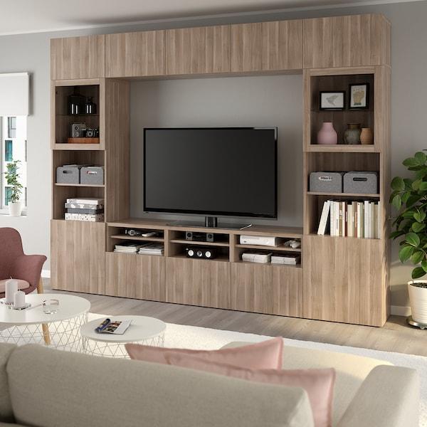 BESTÅ تشكيلة تخزين تلفزيون/أبواب زجاجية, Lappviken/Sindvik مظهر الجوز مصبوغ رمادي زجاج شفاف, 300x40x230 سم