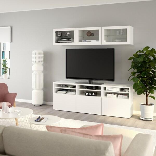 BESTÅ تشكيلة تخزين تلفزيون/أبواب زجاجية, Lappviken/Sindvik أبيض زجاج شفاف, 180x40x192 سم