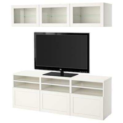 BESTÅ TV storage combination/glass doors, white/Hanviken white clear glass, 180x42x192 cm
