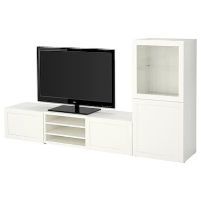 BESTÅ تشكيلة تخزين تلفزيون/أبواب زجاجية, أبيض/Hanviken أبيض زجاج شفاف, 240x42x129 سم