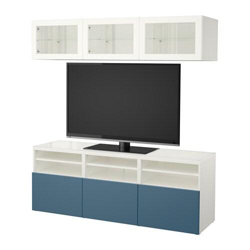 Besta Ikea Dekoration : BestÅ tv storage combination glass doors white valviken