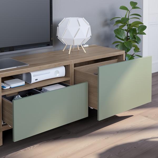 Besta Tv Storage Combination Grey Stained Walnut Effect Lappviken Notviken Stubbarp Grey Green Ikea