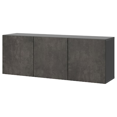 BESTÅ تشكيلة خزانة حائطية, أسود-بني/Kallviken تأثيرات ماديّة., 180x42x64 سم